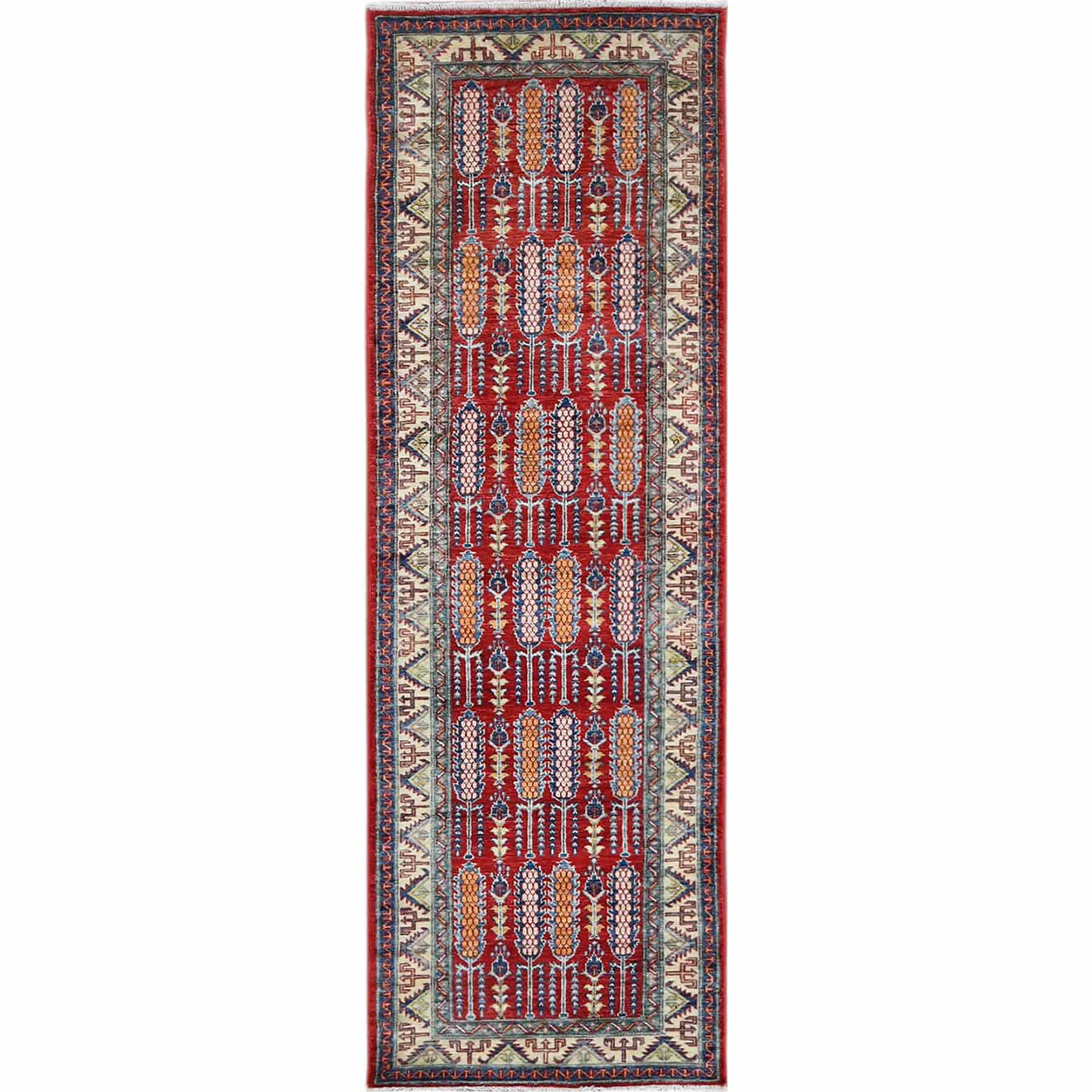Red Afghan Super Kazak with Cypress Tree Design 100% Wool Hand Knotted Runner Oriental