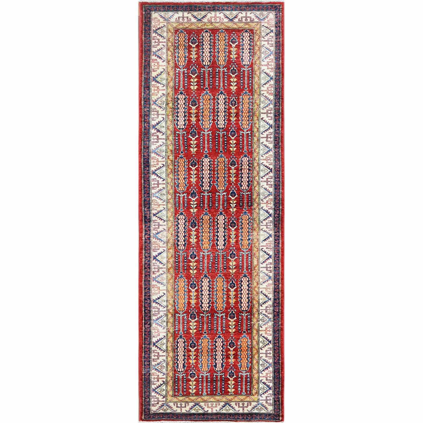 Red Afghan Super Kazak with Cypress Tree Design Pure Wool Hand Knotted Runner Oriental