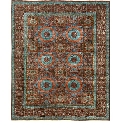 Brown Super Fine Peshawar Mamluk Design With Denser Weave Shiny Wool Even Pile Hand Knotted Oriental