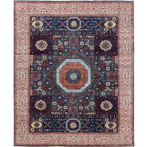 Mamluk Design with Denser Weave Super Fine Peshawar Shiny Wool Even Pile Hand Knotted Oriental