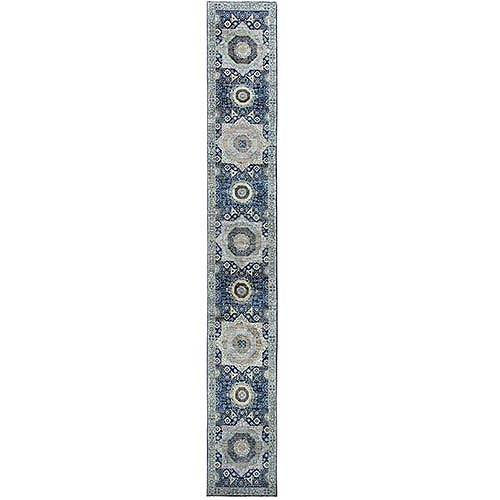 Blue Super Fine Peshawar Mamluk Design With Denser Weave Shiny Wool Even Pile Hand Knotted XL Runner Oriental