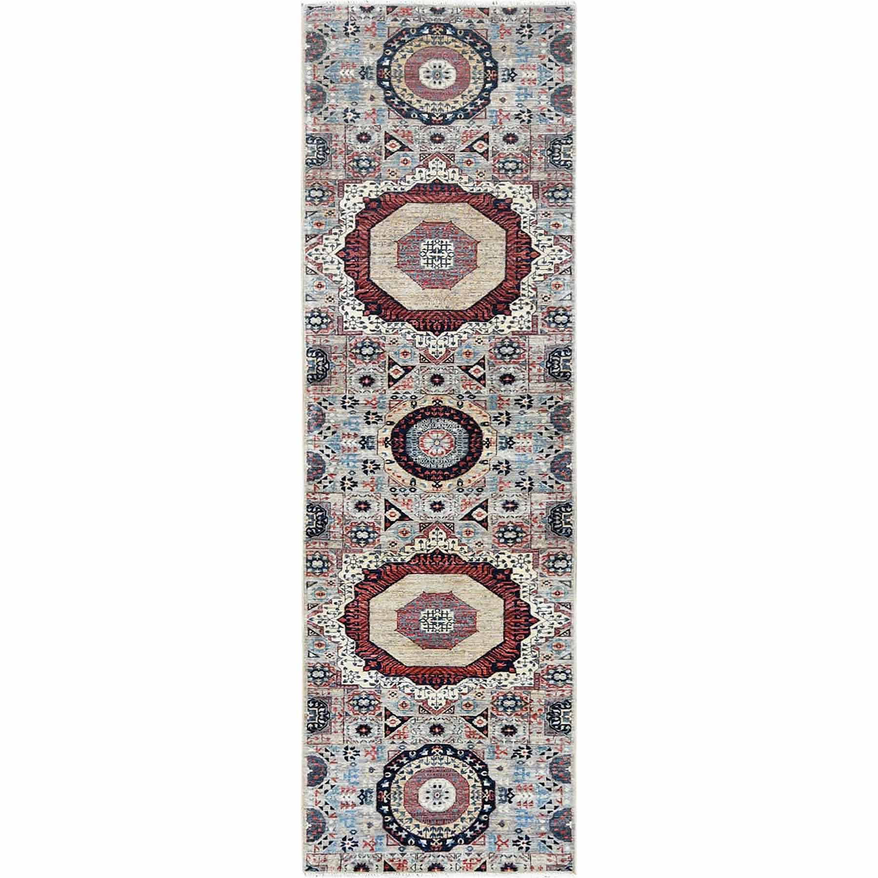 Gray Super Fine Peshawar Mamluk Design With Denser Weave Shiny Wool Even Pile Hand Knotted Runner Oriental