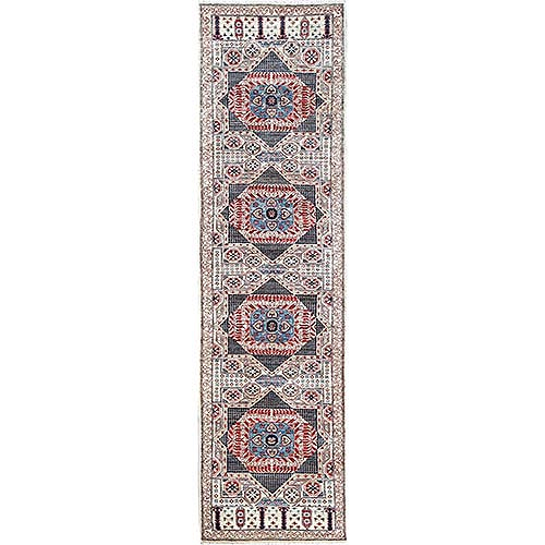 Super Fine Peshawar Mamluk Design With Denser Weave Runner Shiny Wool Even Pile Hand Knotted Oriental