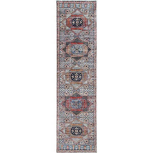 Blue Super Fine Peshawar Mamluk Design with Denser Weave Shiny Wool Even Pile Hand Knotted Runner Oriental