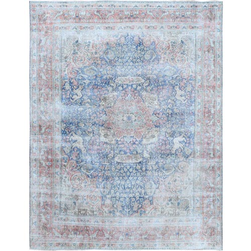 Washed Out Vintage Blue Persian Kerman With Medallion Design Sheared Down Pile Clean Hand Knotted Pure Wool Oriental