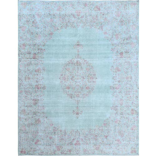 Sea Green Color Old Persian Kerman With Medallion Design Worn Down Clean Hand Knotted Organic Wool Oriental