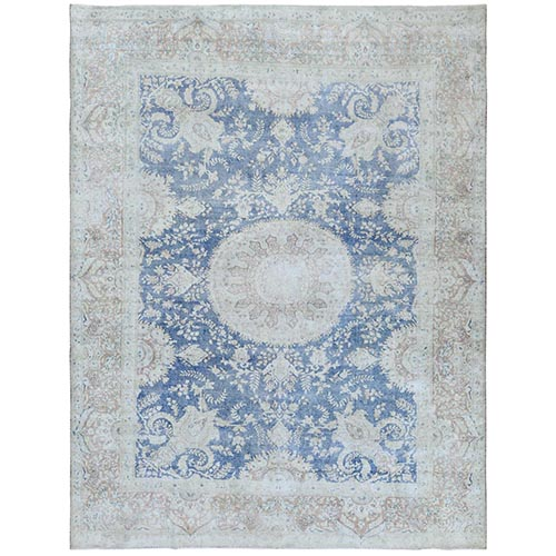 Old Navy Blue Persian Kerman With Medallion Design Distressed Look Clean Hand Knotted Soft To The Touch Wool Pile Oriental