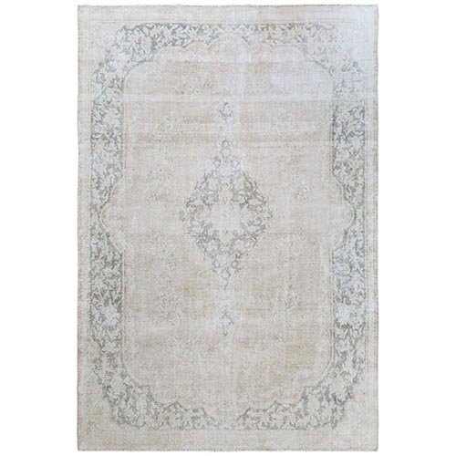 Semi Antique Beige Kerman Heriz With Medallion Design Sheared Down Pile Hand Knotted Organic Wool Oriental