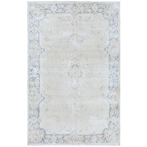 Bohemian Washed Out Beige Old Persian Kerman With Medallion Design Cropped Thin Hand Knotted Clean Pure Wool Oriental
