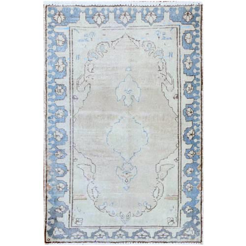 Washed Out Old Ivory Persian Kerman With Medallion Design Worn Down Clean Hand Knotted Pure Wool Oriental