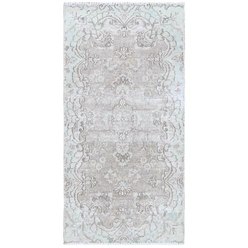 White Wash Old Persian Kerman With Medallion Design Cropped Thin Hand Knotted Clean Natural Wool Oriental
