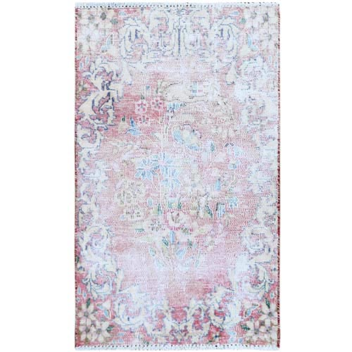 Washed Out Old Red Persian Kerman With Flower Design Distressed Clean Hand Knotted Pure Wool Oriental