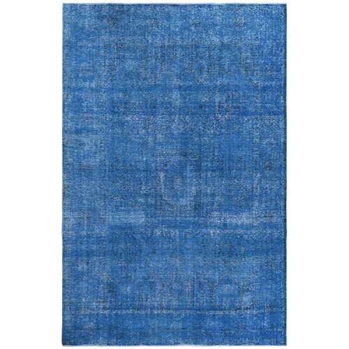 Semi Antique Overdyed Dark Blue Persian Tabriz Distressed Clean Organic Wool Hand Knotted Oriental