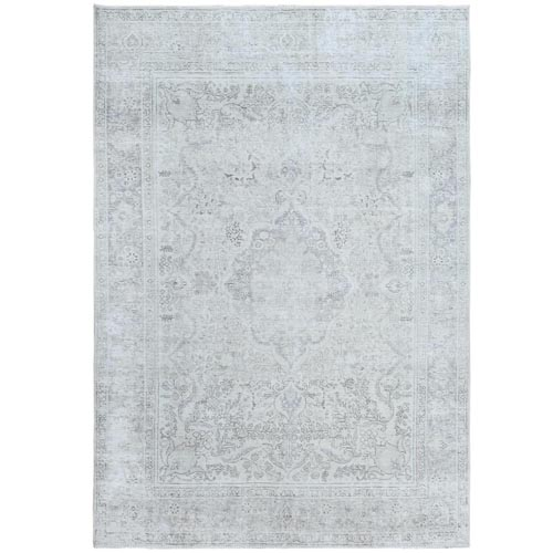 Bohemian Vintage White Wash Persian Tabriz Hand Knotted Clean Sheared Down Natural Wool Oriental
