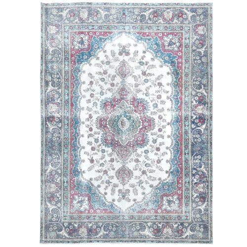 Vintage Ivory With Fresh Colors Persian Tabriz Worn Down Clean Hand Knotted Pure Wool Oriental