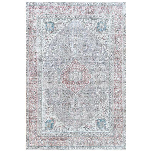 Faded Purple Clean Organic Wool Bohemian Worn Down Semi Antique Persian Tabriz Medallion Design Hand Knotted Oriental