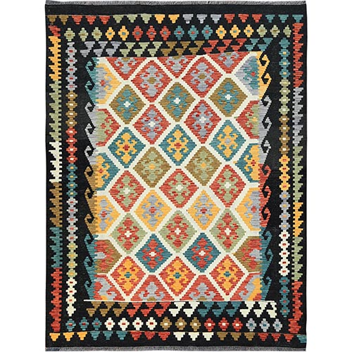 Black With Pop Of Various Colors Afghan Kilim Reversible Vibrant Wool Hand Woven Oriental