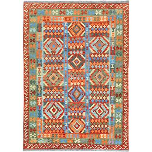 Green Afghan Kilim In A Colorful Palette Geometric Design Reversible Pure Wool Hand Woven Oriental