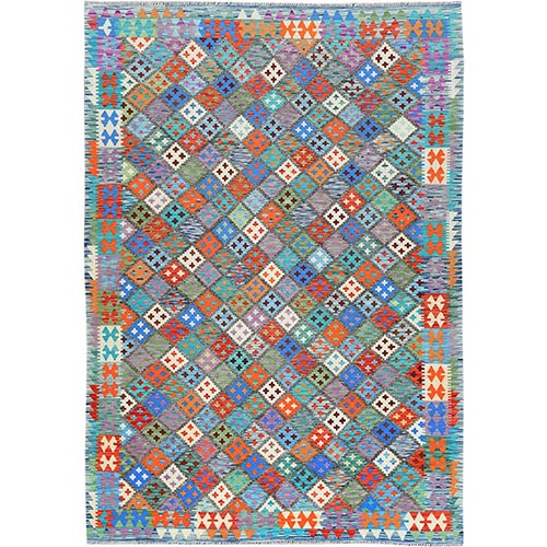 Blue Geometric Design Afghan Kilim With Vibrant Color Shades Velvety Wool Hand Woven Oriental