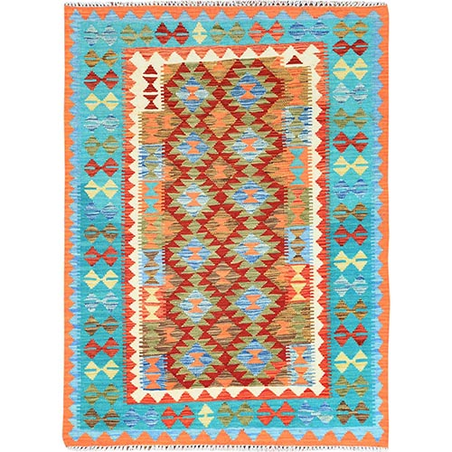 Colorful Afghan Kilim Reversible Pure Vibrant Wool Hand Woven Oriental