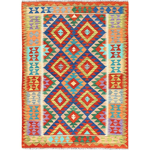 Colorful Afghan Kilim Geometric Design Flat Weave Reversible Vibrant Wool Hand Woven Oriental