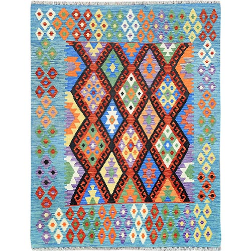 Colorful Tribal Design Afghan Kilim Reversible Shiny Wool Hand Woven Oriental