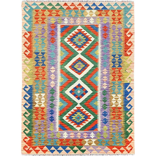 Colorful Geometric Design Afghan Kilim Reversible Organic Wool Hand Woven Oriental