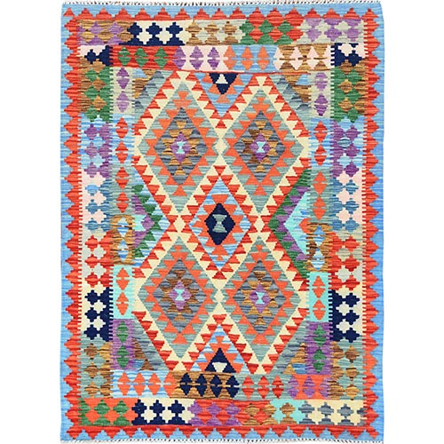 Colorful Tribal Design Afghan Kilim Reversible Vibrant Organic Wool Hand Woven Oriental