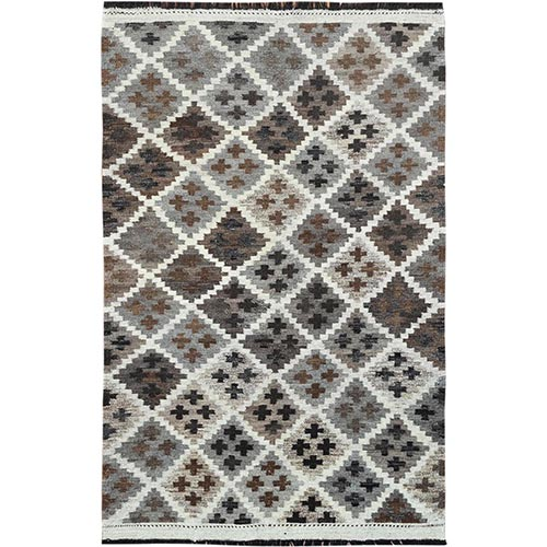 Taupe Geometric Design Afghan Kilim Reversible Undyed Organic Wool Hand Woven Oriental