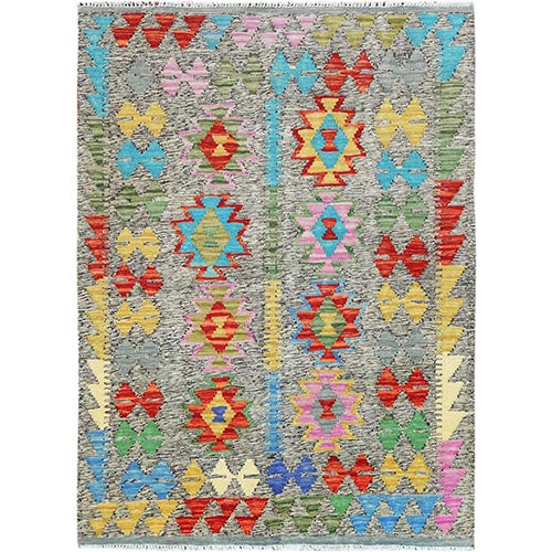 Colorful Geometric Design Pure Wool Reversible Flat Weave Afghan Kilim Hand Woven Oriental