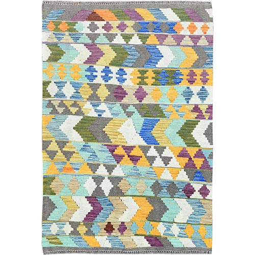 Colorful Tribal Design Reversible Flat Weave Afghan Kilim Shiny Wool Hand Woven Ethnic Oriental
