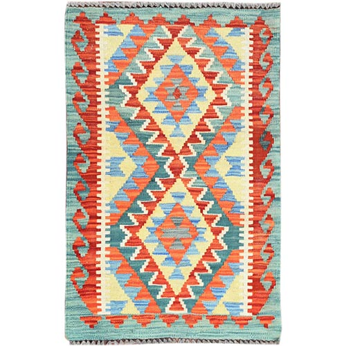 Colorful Afghan Kilim Nomadic Design Reversible Natural Wool Hand Woven Oriental