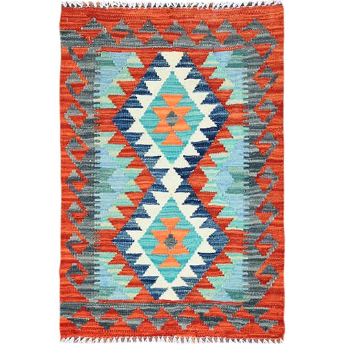 Light Green Tribal Design Afghan Kilim Reversible Pure Wool Hand Woven Oriental