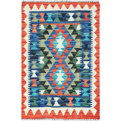 Colorful Afghan Kilim Tribal Design Shiny Wool Reversible Flat Weave Hand Woven Oriental