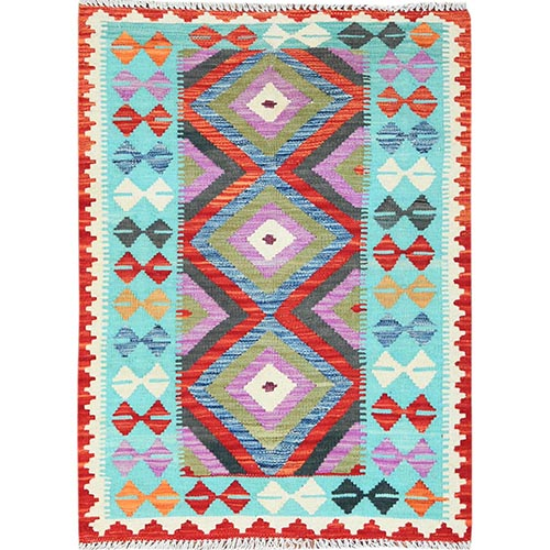 Colorful Afghan Kilim Reversible, Soft To The Touch Wool Pile Hand Woven Oriental