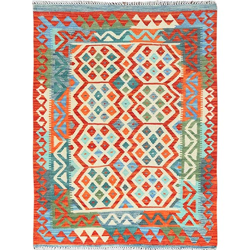Colorful Afghan Kilim Tribal Design Velvety Wool Flat Weave Hand Woven Reversible Oriental