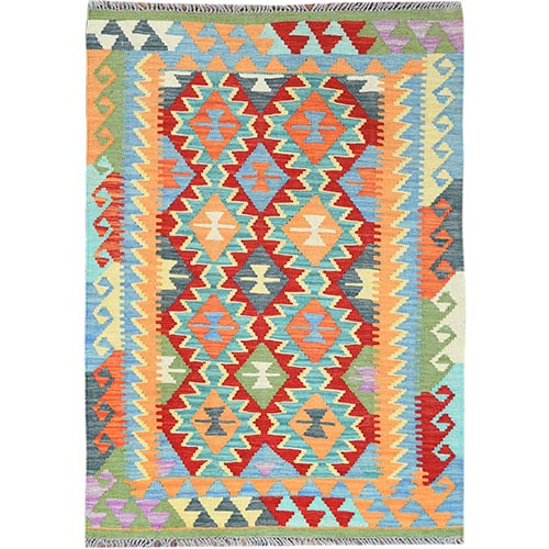 Colorful Geometric Design Afghan Kilim Reversible Luxurious Wool Hand Woven Oriental