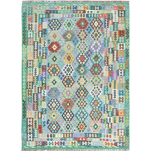 Hand Woven Vibrant Wool Afghan Kilim Colorful Geometric Design Oriental Reversible Rug