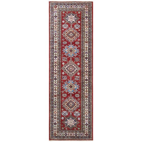 Red Super Kazak With Geometric Design Glimmery Wool Hand Knotted Oriental Runner