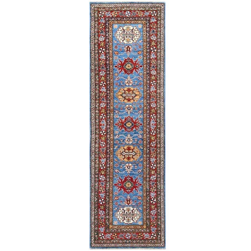 Blue Super Kazak Nomadic Design Herbal Wash Vibrant Wool Hand Knotted Oriental Runner