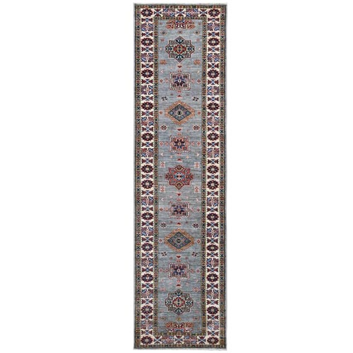 Gray Super Kazak Geometric Design Pliable Wool Hand Knotted Oriental Runner