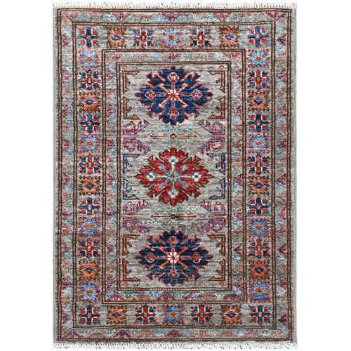 Gray Super Kazak With Geometric Design Natural Wool Hand Knotted Oriental