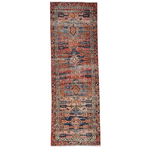 Rust Red Vintage And Worn Down Persian Karajeh Clean Hand Knotted Organic Wool Oriental Runner Rug