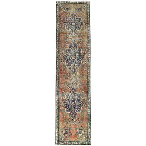 Vintage Copper Brown Persian Tabriz Sheared Down Pile Clean Hand Knotted Natural Wool Oriental Runner Rug