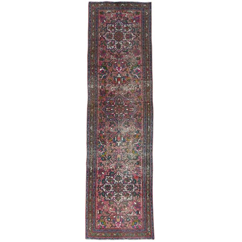Deep Red Vintage Persian Tabriz Sheared Down Pile Clean Hand Knotted Natural Wool Oriental Runner Rug
