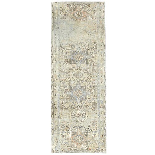 Vintage Persian Karajeh With Faded Earth Tone Colors Distressed Look Clean Pure Wool Hand Knotted Oriental Runner Rug