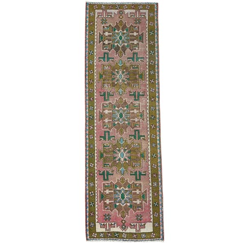 Vintage Pink Persian Karajeh Cropped Thin Pile Clean Hand Knotted Organic Wool Oriental Runner Rug