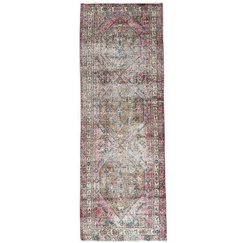 Vintage Red Northwest Persian Worn Down Clean Hand Knotted Natural Wool Oriental Runner Rug