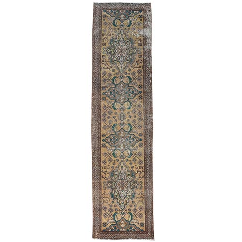Yellow Persian Tabriz Vintage Worn Down Clean Hand Knotted Pure Wool Oriental Runner Rug