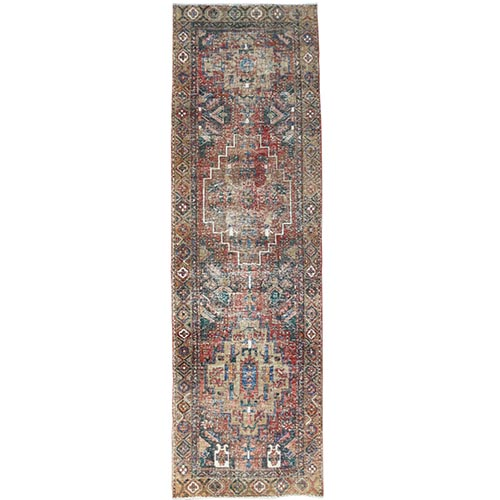 Bohemian Tomato Red Vintage And Worn Down Persian Heriz Clean Hand Knotted Organic Wool Oriental Runner Rug